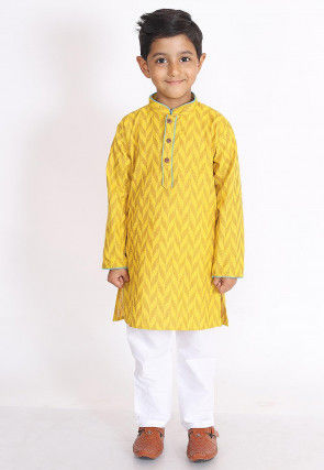Woven Cotton Jacquard Kurta Set in Yellow