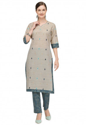 Woven Cotton Jacquard Kurta with Pant in Beige
