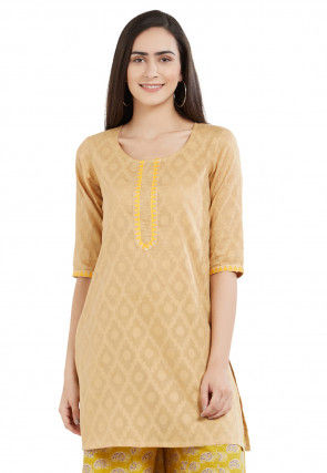 Woven Cotton Jacquard Kurti in Beige