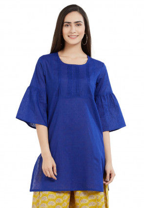 Woven Cotton Jacquard Kurti in Dark Blue