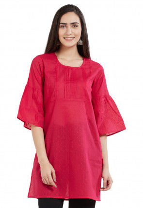Woven Cotton Jacquard Kurti in Fuchsia