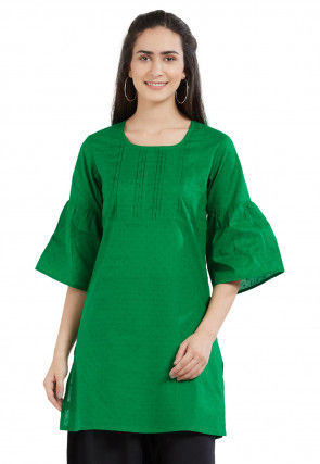 Woven Cotton Jacquard Kurti in Green