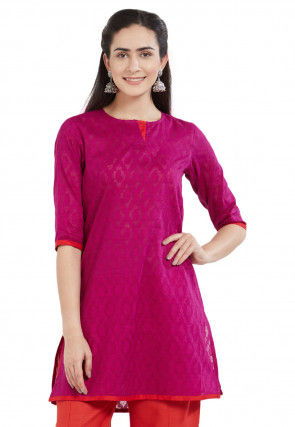 Woven Cotton Jacquard Kurti in Magenta