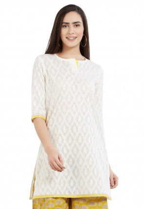 Woven Cotton Jacquard Kurti in Off White