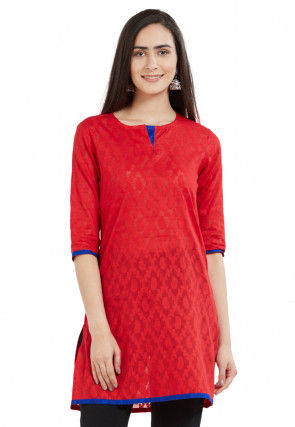Woven Cotton Jacquard Kurti in Red