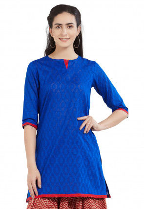 Woven Cotton Jacquard Kurti in Royal Blue