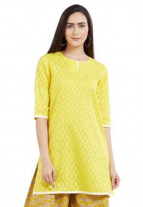 Woven Cotton Jacquard Kurti in Yellow