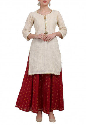 Woven Cotton Jacquard Lehenga in Light Beige and Maroon