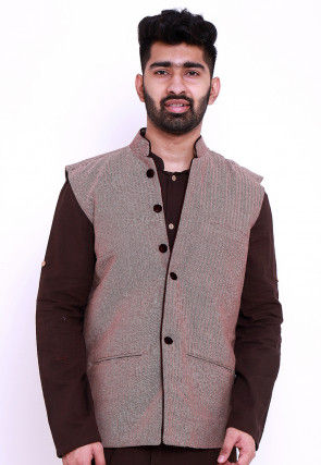 Woven Cotton Jacquard Nehru Jacket in Beige and Wine