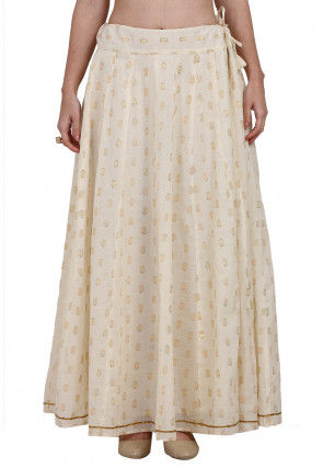 Woven Cotton Jacquard Skirt in Cream