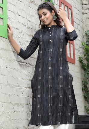 Woven Cotton Jacquard Straight Kurta in Charcoal Black