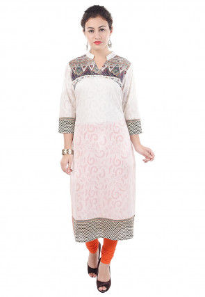 Woven Cotton Jacquard Straight Kurta in Off White