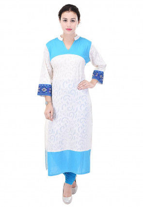Woven Cotton Jacquard Straight Kurta in White