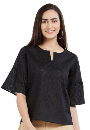 Woven Cotton Jacquard Top in Black