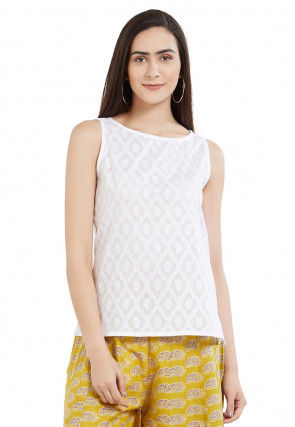 Woven Cotton Jacquard Top in Off White