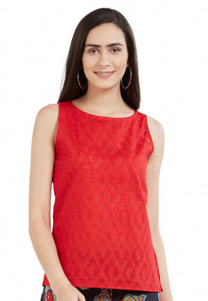 Woven Cotton Jacquard Top in Red