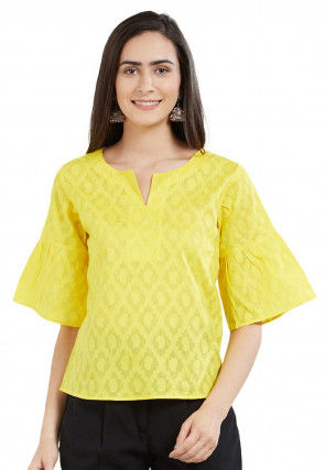 Woven Cotton Jacquard Top in Yellow