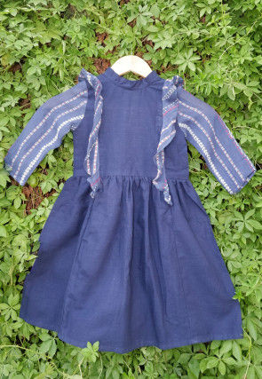 Woven Cotton Kids Frock in Navy Blue