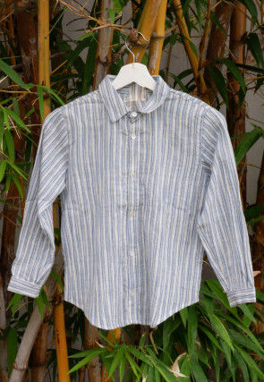 Woven Cotton Kids Shirt in Light Blue