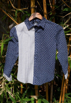 Woven Cotton Kids Shirt in Navy Blue and White