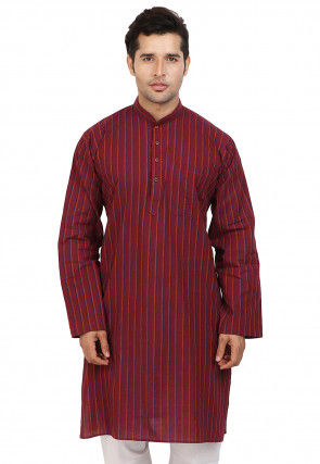 Woven Cotton Kurta in Maroon