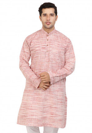 Woven Cotton Kurta in Pink