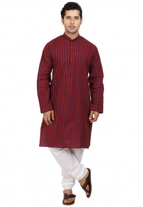 Woven Cotton Kurta Set in Maroon
