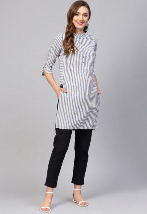 Woven Cotton Kurta Set in Off White and Blue