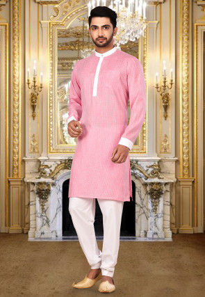 Woven Cotton Kurta Set in Pink and White