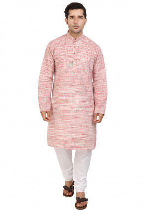 Woven Cotton Kurta Set in Pink