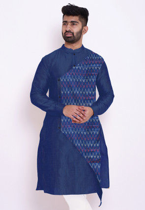 Woven Cotton Layered Kurta in Dark Blue
