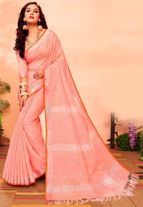 Woven Cotton Linen Saree in Peach