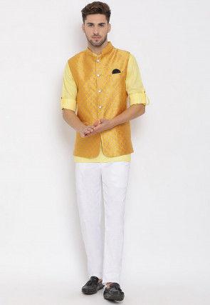 Woven Cotton Linen Short Kurta Jacket Set in Light Yellow