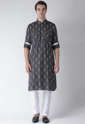 Woven Cotton Paithani Suit in Grey
