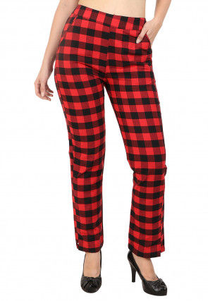 Woven Cotton Pant in Red and Black