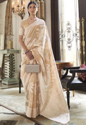 Woven Cotton Saree in Beige
