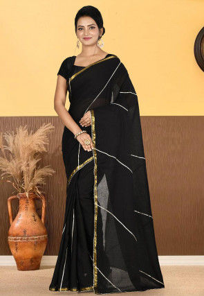 Woven Cotton Saree in Black