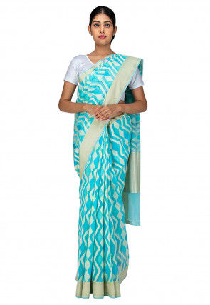 Woven Cotton Saree in Blue and White