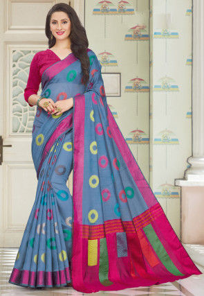 Woven Cotton Saree in Dusty Blue