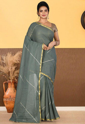 Woven Cotton Saree in Dusty Green