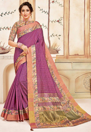 Woven Cotton Saree in Light Magenta