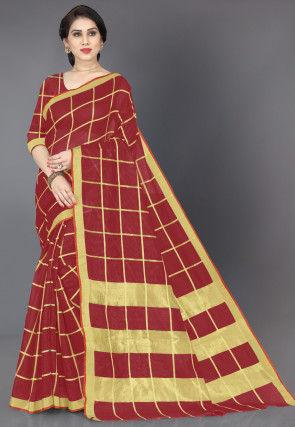 Woven Cotton Saree in Maroon