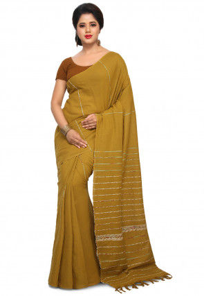 Woven Cotton Saree in Mustard