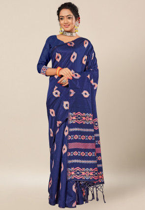Woven Cotton Saree in Navy Blue