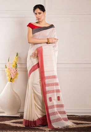 Woven Cotton Saree in Off White