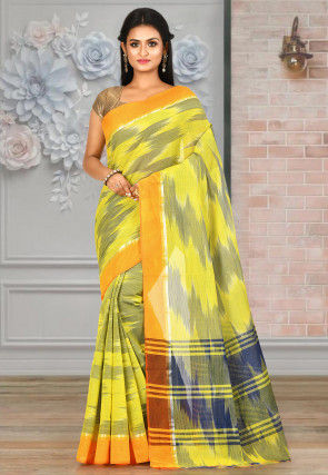 Woven Cotton Saree in Olive Green