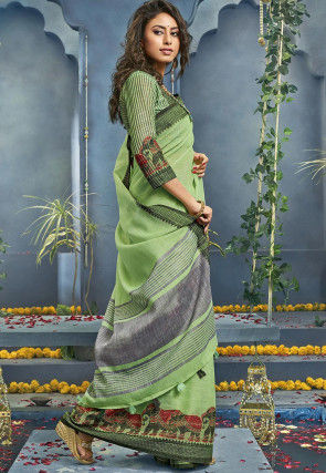 Woven Cotton Saree in Pastel Green