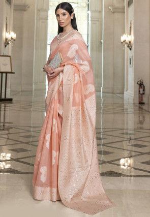 Woven Cotton Saree in Peach