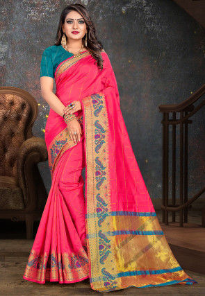 Woven Cotton Saree in Pink