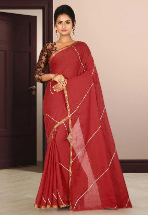 Woven Cotton Saree in Red